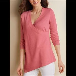 SOFT SURROUNDINGS pink say anything wrap tunic top